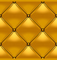gold button-tufted rhombic leather background vector image
