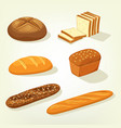 baguette and bricks of toast or butterbrot bread vector image vector image