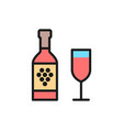 bottle wine with glass flat color line icon vector image
