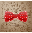 bow tie with hand-drawn hipster style elements vector image vector image