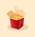 box of wok noodles chinese food vector image vector image