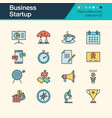 business startup icons filled outline design vector image vector image
