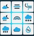 Climate colored icons set collection of wind fog vector image