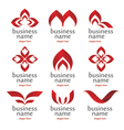 collection of abstract red icons vector image vector image