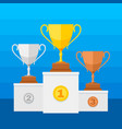 competition winners podium with gold silver vector image vector image