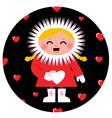 Cute Eskimo girl holding heart design vector image vector image