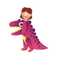 cute smiling girl wear dino violet color costume vector image vector image