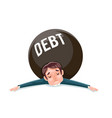 debt squashed crushed businessman wretched vector image