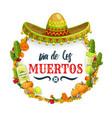 dia de los muertos mexican sombrero and tequila vector image vector image