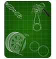 exhaust pipe piston and wheel on a green vector image