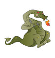 fire-breathing dragon with spoon and knife vector image vector image