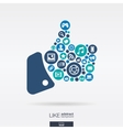 flat icons in a like shape technology social vector image vector image