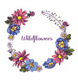 floral wreath of wildflowers hand drawn vector image vector image