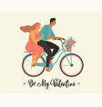 happy couple is riding a bicycle together and vector image vector image