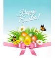 happy easter background easter eggs in green gras vector image vector image
