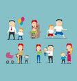 happy family set with parents and children vector image vector image