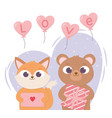 happy valentines day little cat bear with envelope vector image