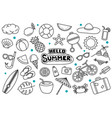hello summer doodle on white background summer vector image