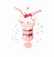 ice cream cherry isolated white background vector image