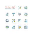 insurance - modern single thin line icons vector image vector image