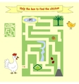 Kids homework How help a hen to find the chicken vector image