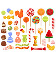 large set colorful candy and sweets icons vector image