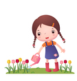Little Cute Girl Watering Flowers vector image