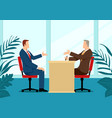man being interviewed recruiter vector image vector image