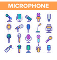 modern and vintage microphone linear icons vector image