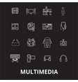 multimedia editable line icons set on black vector image vector image