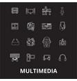 multimedia editable line icons set on black vector image