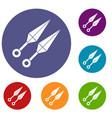 ninja weapon kunai icons set vector image vector image