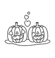 outline kawaii happy pumpkin couple with heart vector image vector image