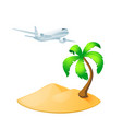 palm tree island with airplane isolated on white vector image vector image