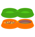 pet food empty and full sections bowl set vector image vector image