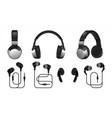 realistic headphones 3d wireless earphones vector image