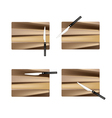 Rectangular Empty Wooden Cutting Boards with Knive vector image