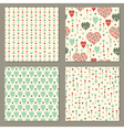 Romantic hearts seamless patterns set vector image vector image