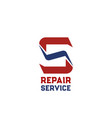 s letter icon for repair service vector image vector image