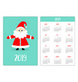 santa claus red hat pocket calendar layout 2019 vector image vector image