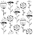Seamless pattern with sketch flowers in black and vector image vector image
