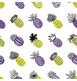 seamless pineapple pattern handdrawn pinapple vector image