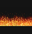 seamless realistic fire border flame warm design vector image vector image