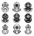 set diver helmets in monochrome style retro vector image vector image