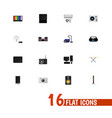 set of 16 editable technology flat icons includes vector image