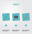 set of camp icons flat style symbols with medicine vector image