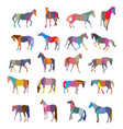 set of mosaic colorful horses vector image vector image