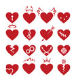 simple abstract heart shapes icons burned vector image vector image