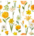 summer yellow flowers watercolor pattern seamless vector image vector image