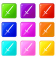 sword icons 9 set vector image vector image